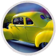Yellow 1940 Hudson Round Beach Towel