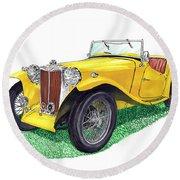 Yellow 1949 M G T C Midget Round Beach Towel