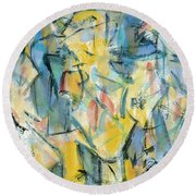 Yellow Abstraction Round Beach Towel