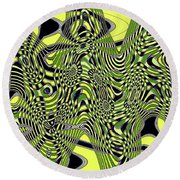 Yellow And Black #3 Abstract Round Beach Towel