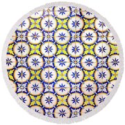 Yellow And Blue Circle Tile Round Beach Towel