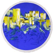 Yellow And Blue Round Beach Towel