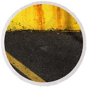 Yellow And Grey Wc  Round Beach Towel