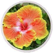 Yellow And Orange Hibiscus 2 Round Beach Towel
