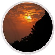 Yellow And Orange Sunset With Tree Silhouette On Bottom And Right Round Beach Towel