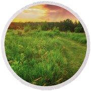 Retzer Nature Center - Yellow And Purple Summer Sunset  Round Beach Towel