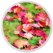 Yellow And Red Fall Maple Leaves Round Beach Towel