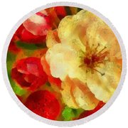 Yellow And Red Floral Delight Round Beach Towel