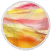 Yellow And Red Landscape Round Beach Towel