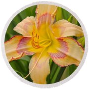 Yellow And Red Lily Round Beach Towel