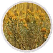 Yellow Autumn Blooming Round Beach Towel