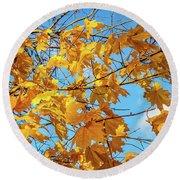Yellow Autumn Leaves 2 Round Beach Towel