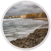 Yellow Bank Cliffs Round Beach Towel