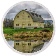 Yellow Barn Round Beach Towel