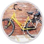 Yellow Bicycle Digital Watercolour Round Beach Towel