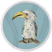 Yellow-billed Hornbill Watercolor Painting Round Beach Towel