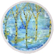 Yellow Birches Round Beach Towel