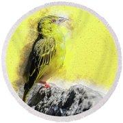 Yellow Bird Round Beach Towel