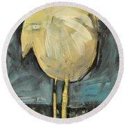 Yellow Bird In Field Round Beach Towel