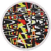 Yellow Black Red White Drawing Abstract Round Beach Towel