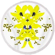 Yellow Blue Blossoms Round Beach Towel