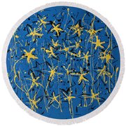 Yellow Blue Round Beach Towel