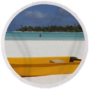 Yellow Boat In South Pacific Round Beach Towel