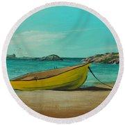 Yellow Boat Round Beach Towel