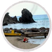 Yellow Boat On The Beach Round Beach Towel