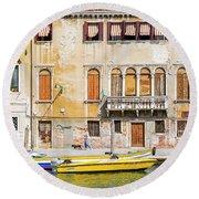 Yellow Boat - Venice Italy Round Beach Towel