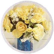 Yellow Bouquet Of Flowers Round Beach Towel