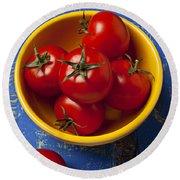 Yellow Bowl Of Tomatoes  Round Beach Towel
