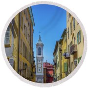 Yellow Buildings And Chapel In Old Town Nice, France - Landscape Round Beach Towel