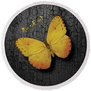 Yellow Butterfly Round Beach Towel