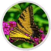 Yellow Butterfly In The Garden Round Beach Towel