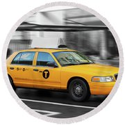 Yellow Cab In Manhattan In A Rainy Day. Round Beach Towel