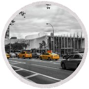 Yellow Cabs By The United Nations, New York 2 Round Beach Towel