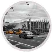 Yellow Cabs By The United Nations, New York 3 Round Beach Towel