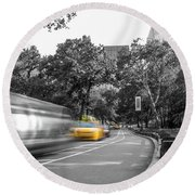 Yellow Cabs In Central Park, New York 3 Round Beach Towel