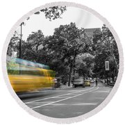 Yellow Cabs In Central Park, New York 4 Round Beach Towel