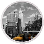 Yellow Cabs In Midtown Manhattan, New York Round Beach Towel