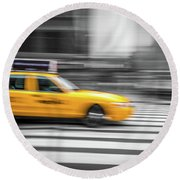 Yellow Cabs In New York 6 Round Beach Towel
