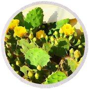 Yellow Cactus Blossoms 594 Round Beach Towel