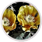 Yellow Cactus Flowers Round Beach Towel