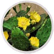 Yellow Cactus Flowers Round Beach Towel