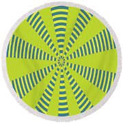 Yellow Cactus Spines Abstract Round Beach Towel
