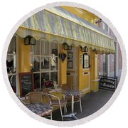 Yellow Cafe Round Beach Towel