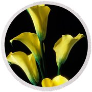 Yellow Calla Lilies  Round Beach Towel by Garry Gay