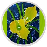 Yellow Callas Round Beach Towel