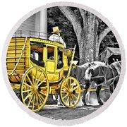 Yellow Carriage Round Beach Towel